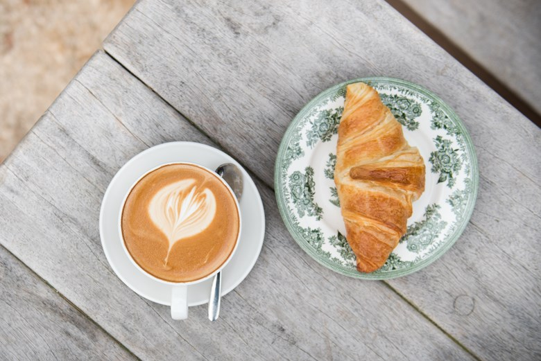 cafe croissant and coffee